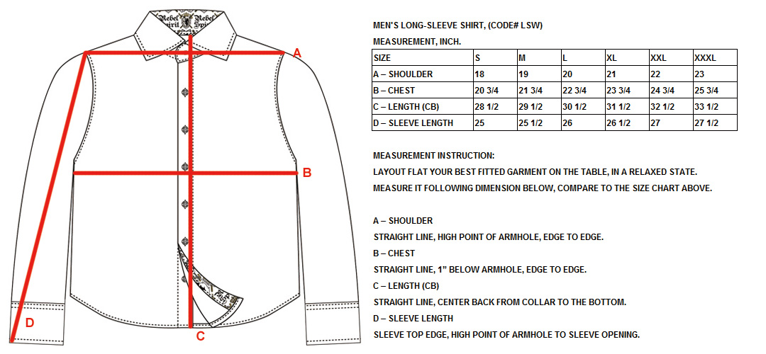 Men S Long Sleeve Shirt Code Lsw